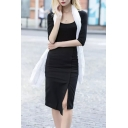 Plain Asymmetrical Hem Split Side Zipper Back Midi Wrap Skirt