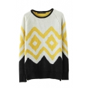 Geometric Pattern Round Neck Long Sleeve Color Block Sweater
