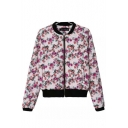 Floral Print Stand Collar Long Sleeve Zipper Quilted Jacket
