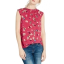 Round Neck Pleated Front Sleeveless Wing Print Shirt