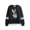 Rabbit Print Round Neck Long Sleeve Letter Print Sweatshirt