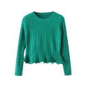 Plain Round Neck Ruffle Hem Long Sleeve Fitted Crop Sweater