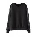 Black Mesh Sleeve Round Neck Rock Embossing Sweatshirt