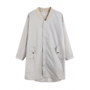 Gray Stand-Up Collar Long Sleeve Dust Coat