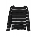Boat Neck Striped Long Sleeve High Low Sweater
