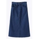 A-Line Plain Zipper Fly Long Denim Skirt