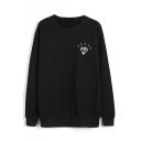Round Neck Long Sleeve Diamond Print Pullover Sweatshirt