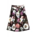 Floral Print High Waist Midi Full Skirt