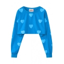 Heart Print Round Neck Long Sleeve Cropped Sweatshirt