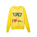 Yellow Cartoon Print Long Sleeve Round Neck Sweatshirt