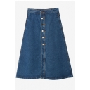 Dark Blue Button Fly A-Line Midi Denim Skirt