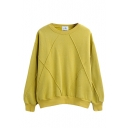 Plain Round Neck Long Sleeve Pullover Sweatshirt