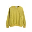 Plain Round Neck Long Sleeve Pullover Sweatshirt
