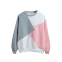 Round Neck Color Block Patchwork Long Sleeve Sweatshirt