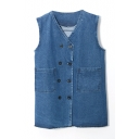 Double Breasted Sleeveless V-Neck Dark Blue Denim Jacket