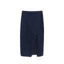Plain Navy Asymmetrical Split Front Zip Side Denim Midi Skirt
