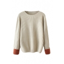 Plain Round Neck Color Block Cuff Long Sleeve Sweater