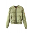 Plain Stand Up Collar Long Sleeve Quilted Jacket