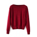 Plain Long Sleeve Long Sleeve Pullover Sweater