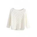 Round Neck Plain Long Sleeve Sweater