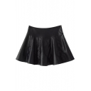 Plain Black Leather Zipper Side Flared Mini Skirt