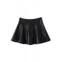 Plain Black Leather Zipper Side Flared Mini Skirt