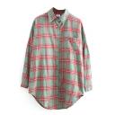 Plaid Long Sleeve Lapel Single Breasted Shirt