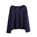 Plain Long Sleeve V-Neck Crop Tunic T-Shirt