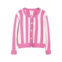 Stripe Round Neck Long Sleeve Single Breast Cardigan