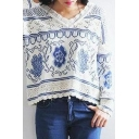 White V-Neck Tribal Pattern Hollow Knit Sweater
