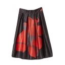 Black High Waist Floral Print Midi A-Line Skirt