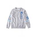 Stripe Letter Digital Print Long Sleeve Sweatshirt