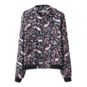 Zip Up Long Sleeve Paisley Print Bomber Jacket