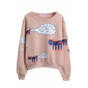 Long Sleeve Cartoon Print Round Neck Pullover Sweatshirt