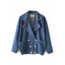 Batwing Sleeve Lapel Blue Double Pocket Double Breasted Denim Coat