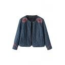 Geometric Embroidery Shoulder Long Sleeve Open Front Quilted Denim Coat