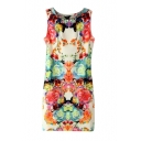 Round Neck Brilliant Floral Print Bodycon Shift Sleeveless Dress