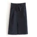 Tie Waist Plain Split Front A-Line Midi Skirt