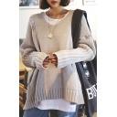 V-Neck Long Sleeve Plain Shredded Pullover Sweater
