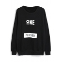 Round Neck Letter Print Long Sleeve Black Sweatshirt