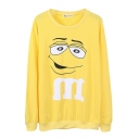 Plain Round Neck Long Sleeve Cartoon Print Sweatshirt