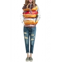 White Laid Back Long Sleeve Hamburger Print Hoodie