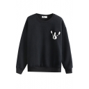 Dog Print Round Neck Long Sleeve Pullover Sweatshirt