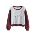 Color Block Cartoon Print Long Sleeve Round Neck Sweatshirt