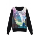 Round Neck Long Sleeve Cartoon Print Pullover Sweatshirt