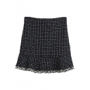Zip Back Ruffle Hem Mini Plaid Skirt