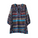Tribal Print Round Neck Tie Front 3/4 Length Sleeve Loose Shirt