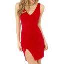 Plain V-Neck V Back Sleeveless Split Hem Zipper Back Tank Dress
