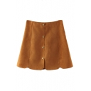 Plain Button Fly Petal Hem Suede A-Line Mini Skirt