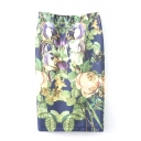 Beautiful Floral Print Elastic Waist Pencil Skirt
